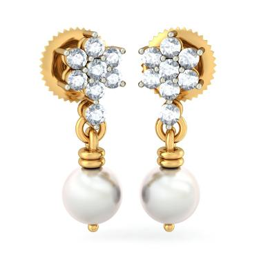 18K Gold Pearl Earrings