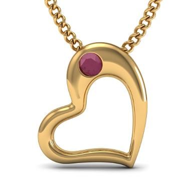 Ruby Heart Pendant In 18kt Yellow Gold
